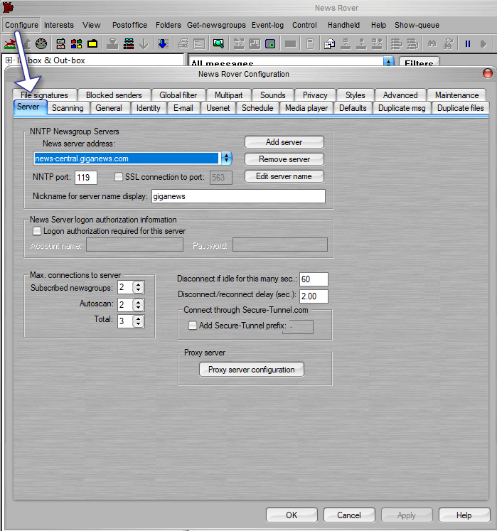 Newsrover Configure