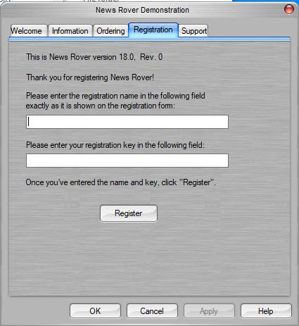 Newsrover Registration