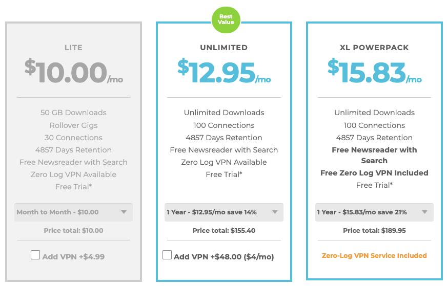 Newshosting Newsreader Pricing