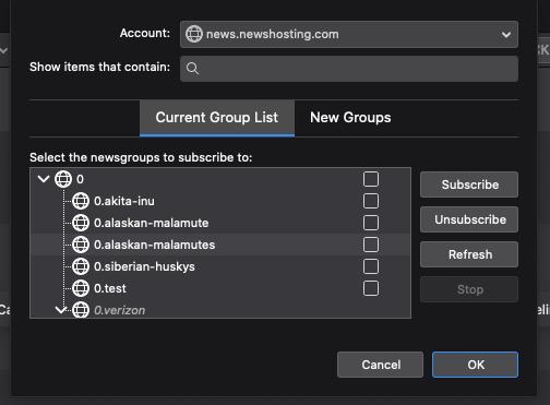 Thunderbird Newsgroups List