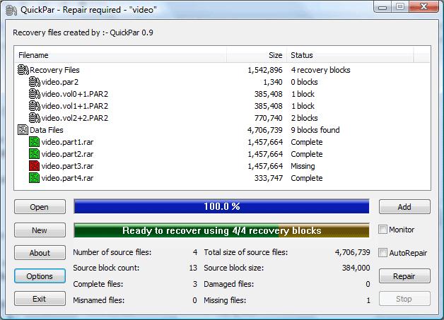 How to Open Par2 Files Quickpar 3